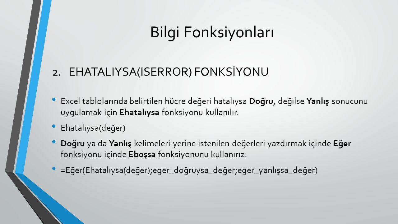 Bilgi Fonksiyonları EHATALIYSA(ISERROR) FONKSİYONU