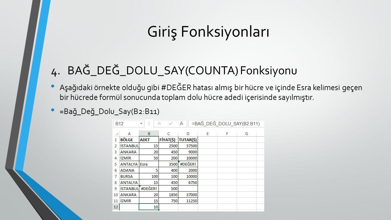 Giriş Fonksiyonları BAĞ_DEĞ_DOLU_SAY(COUNTA) Fonksiyonu