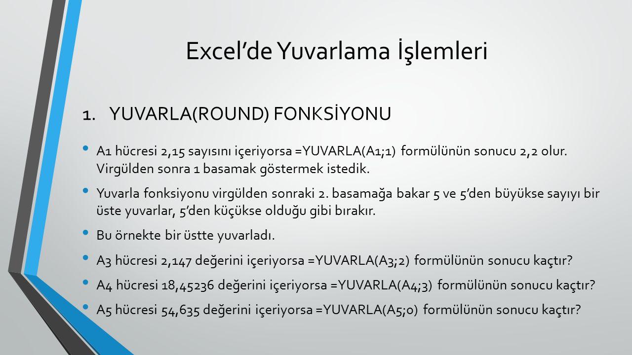 Excel'de Yuvarlama İşlemleri