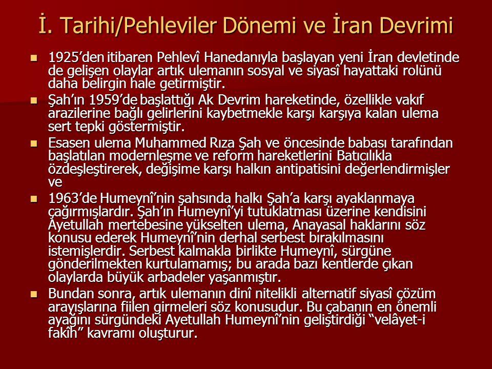 İ. Tarihi/Pehleviler Dönemi ve İran Devrimi