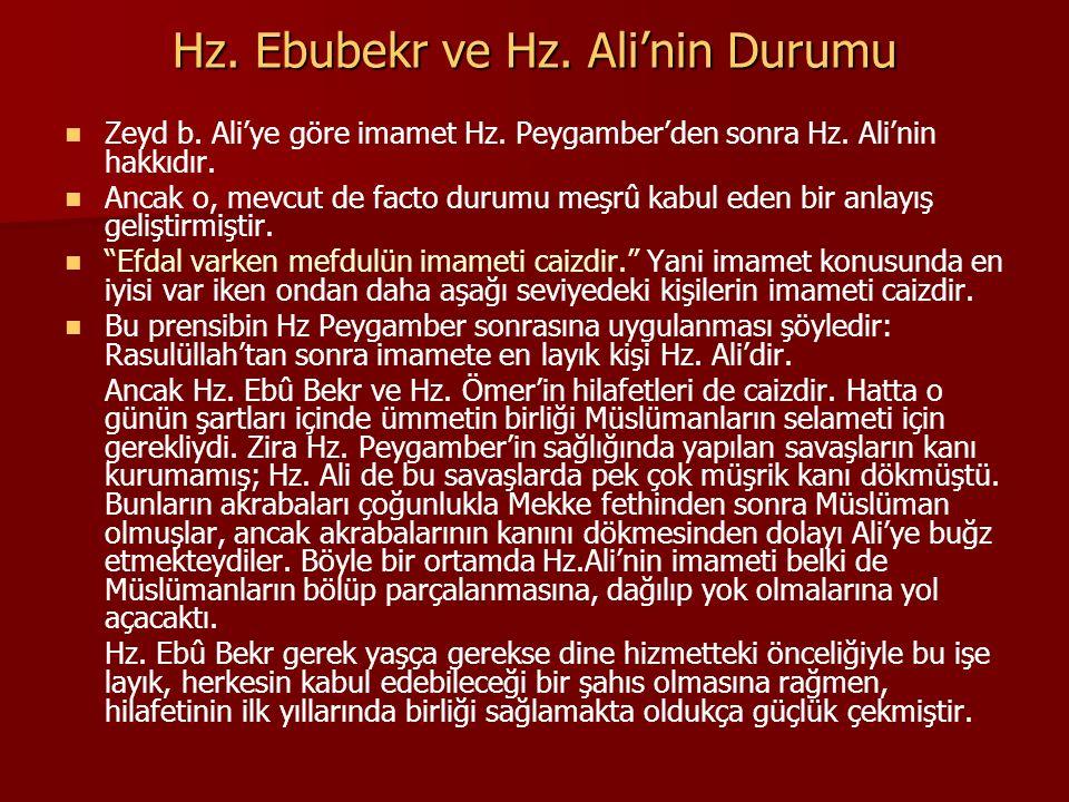 Hz. Ebubekr ve Hz. Ali'nin Durumu