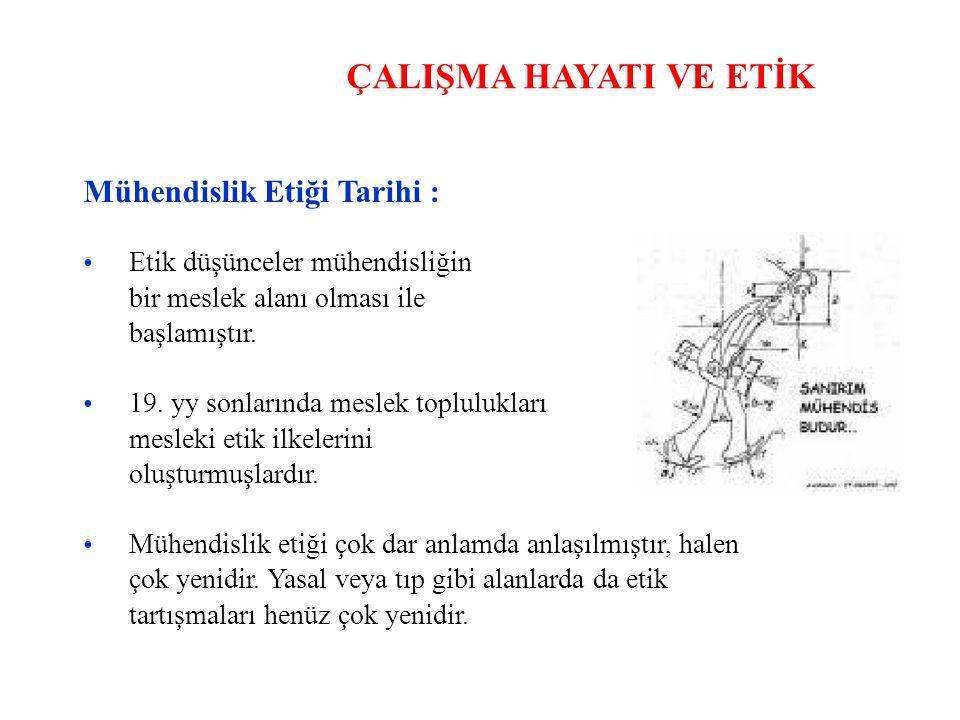 ÇALIŞMA HAYATI VE ETİK Mühendislik Etiği Tarihi : •