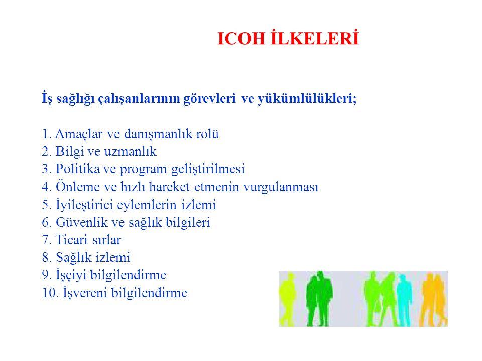 ICOH İLKELERİ İş sağlığı çalışanlarının görevleri ve yükümlülükleri;