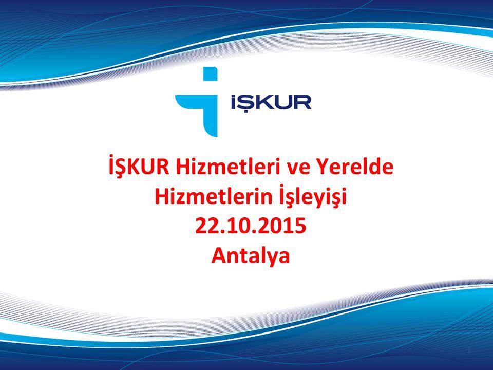 İŞKUR Hizmetleri ve Yerelde Hizmetlerin İşleyişi 22.10.2015 Antalya