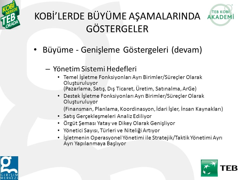 KOBİ'LERDE BÜYÜME AŞAMALARINDA GÖSTERGELER
