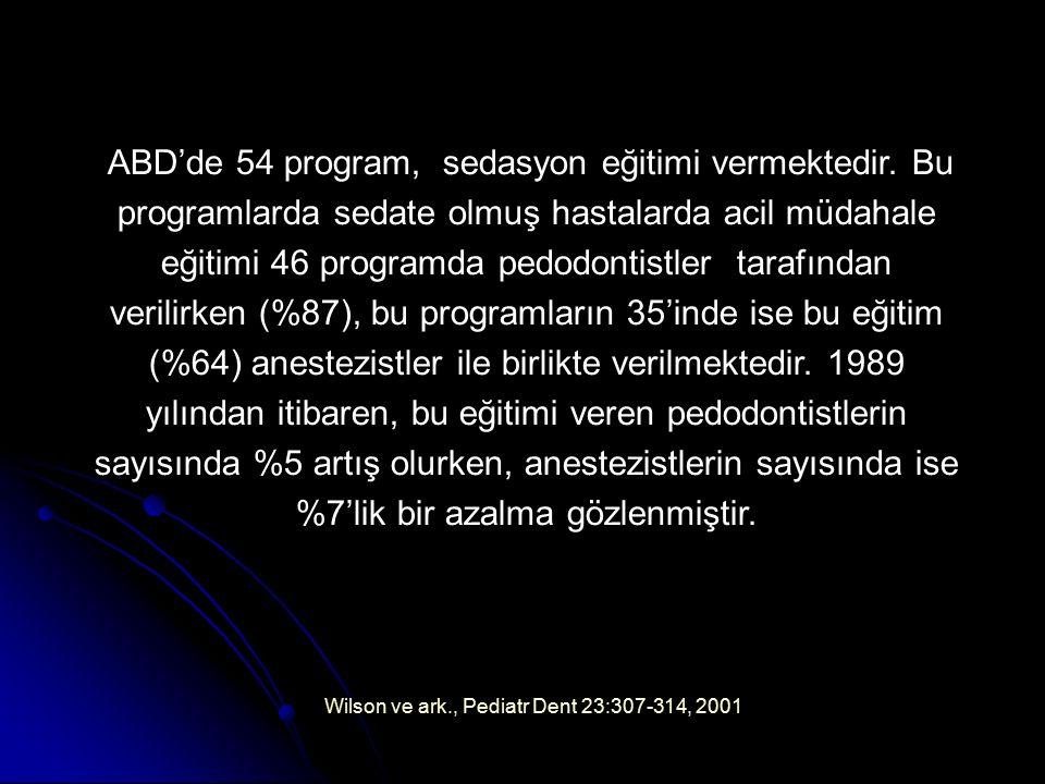 Wilson ve ark., Pediatr Dent 23:307-314, 2001