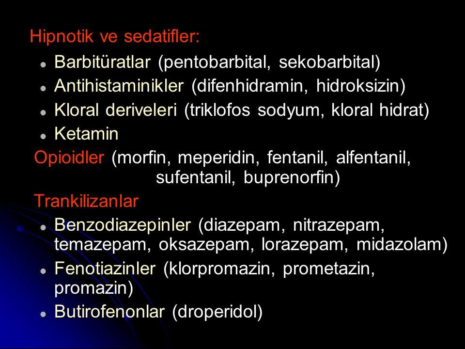 Barbitüratlar (pentobarbital, sekobarbital)