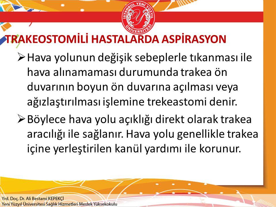TRAKEOSTOMİLİ HASTALARDA ASPİRASYON