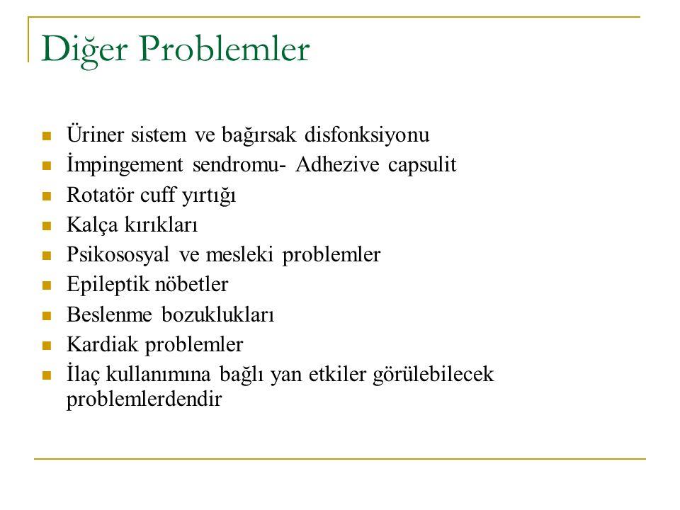 Diğer Problemler Üriner sistem ve bağırsak disfonksiyonu