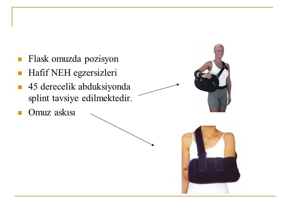 Flask omuzda pozisyon Hafif NEH egzersizleri. 45 derecelik abduksiyonda splint tavsiye edilmektedir.