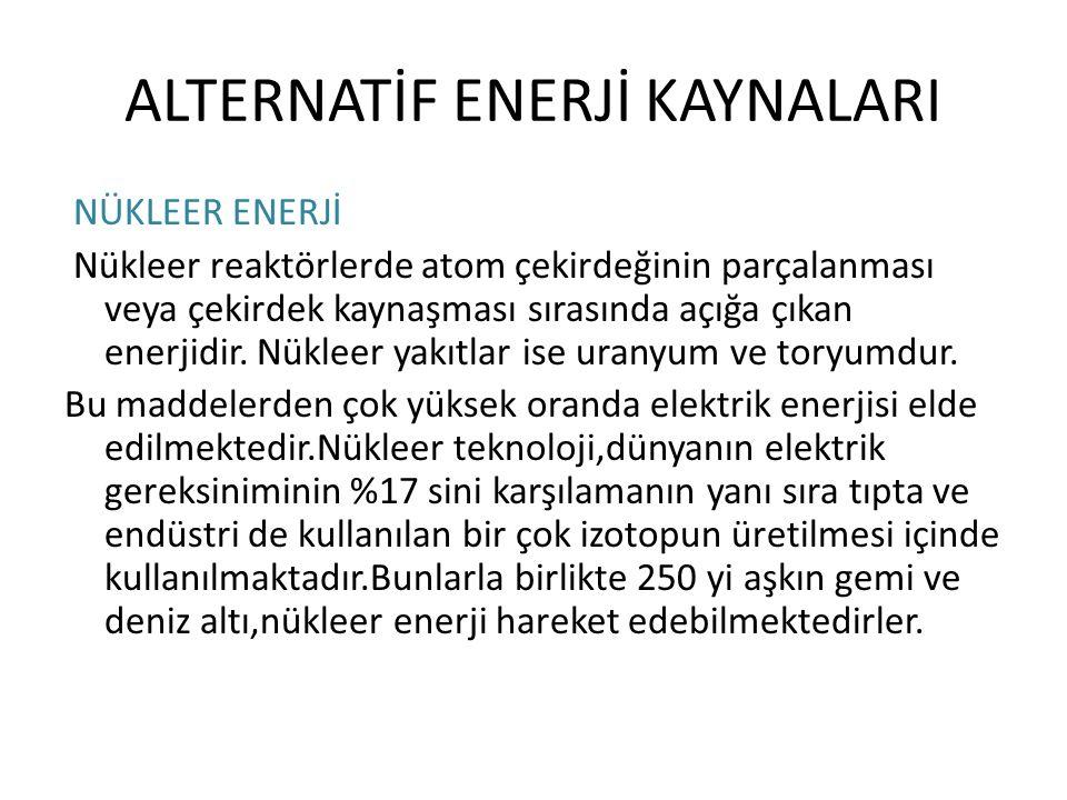 ALTERNATİF ENERJİ KAYNALARI
