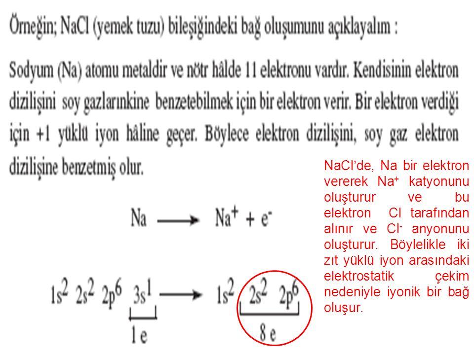 NaCl'de, Na bir elektron vererek Na+ katyonunu oluşturur ve bu elektron Cl tarafından alınır ve Cl- anyonunu oluşturur.