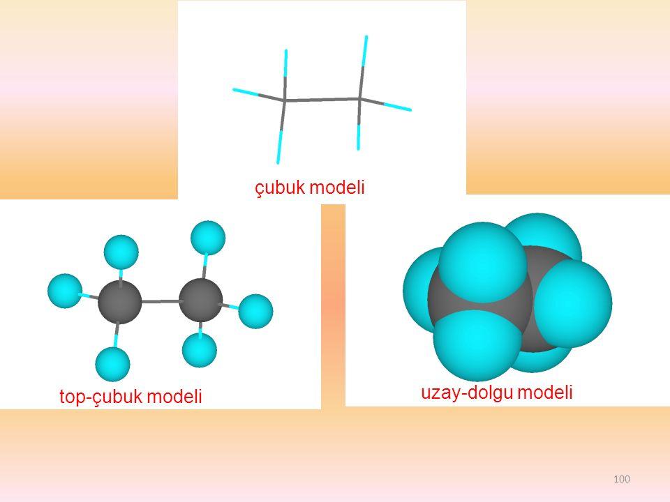 top-çubuk modeli uzay-dolgu modeli çubuk modeli