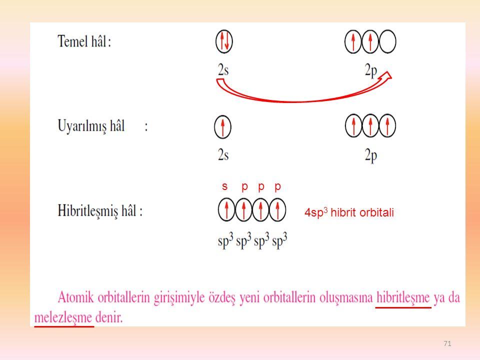 s p p p 4sp3 hibrit orbitali