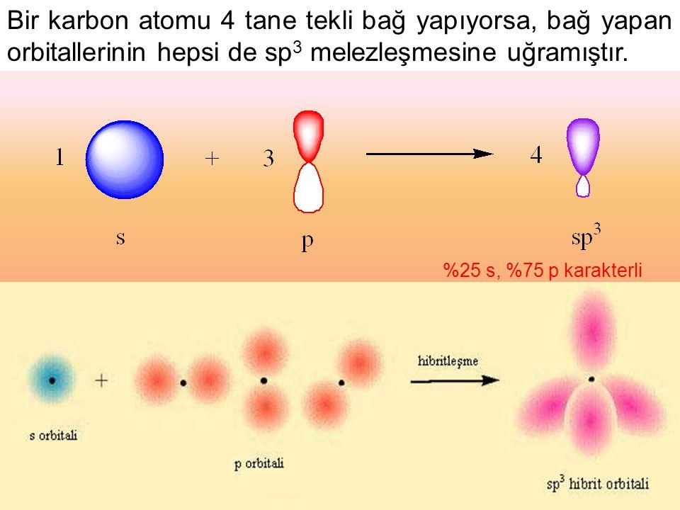 Bir karbon atomu 4 tane tekli bağ yapıyorsa, bağ yapan orbitallerinin hepsi de sp3 melezleşmesine uğramıştır.