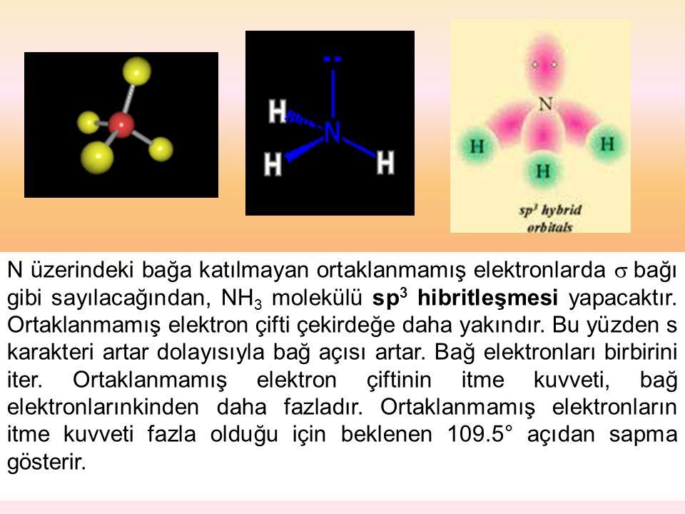 N üzerindeki bağa katılmayan ortaklanmamış elektronlarda  bağı gibi sayılacağından, NH3 molekülü sp3 hibritleşmesi yapacaktır.