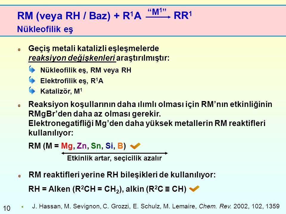RM (veya RH / Baz) + R1A RR1 M1 Nükleofilik eş