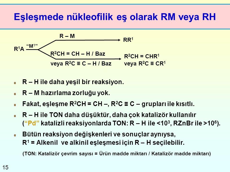 Eşleşmede nükleofilik eş olarak RM veya RH