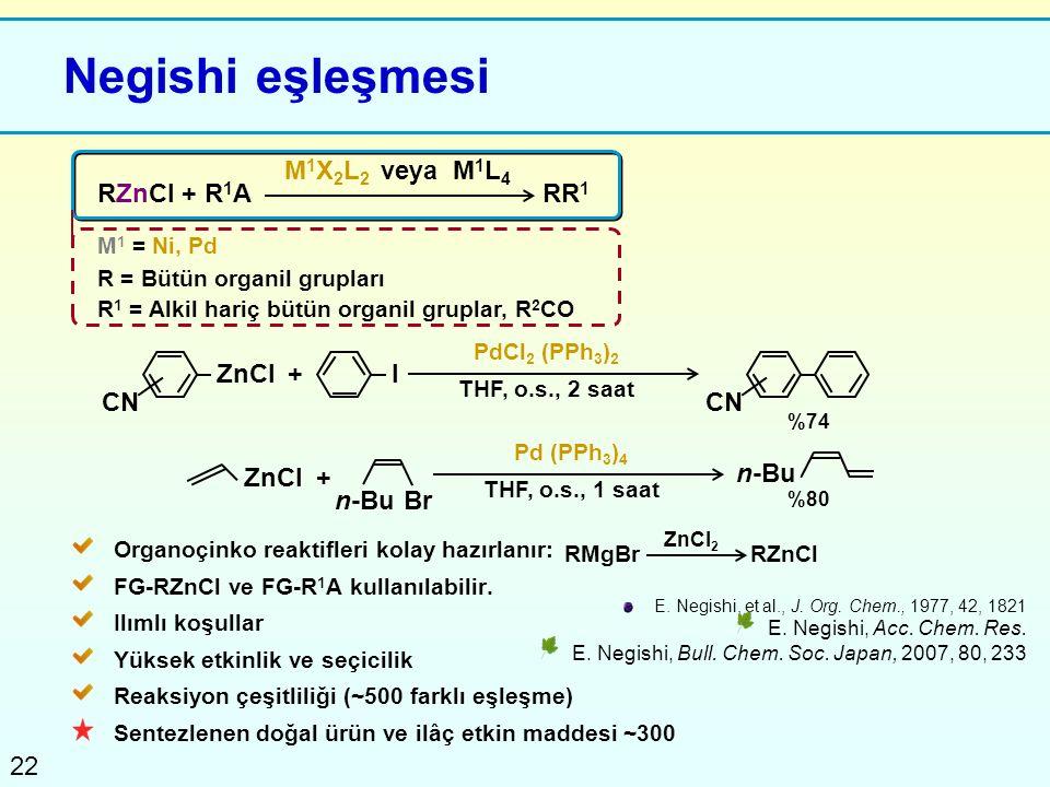 Negishi eşleşmesi M1X2L2 veya M1L4 RZnCl + R1A RR1 ZnCl + I CN CN ZnCl