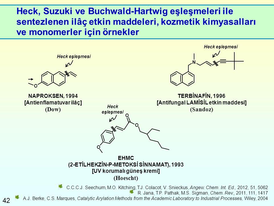 Heck, Suzuki ve Buchwald-Hartwig eşleşmeleri ile sentezlenen ilâç etkin maddeleri, kozmetik kimyasalları ve monomerler için örnekler