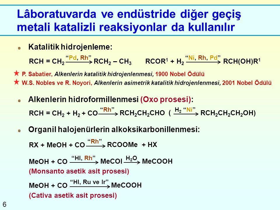 Lâboratuvarda ve endüstride diğer geçiş metali katalizli reaksiyonlar da kullanılır