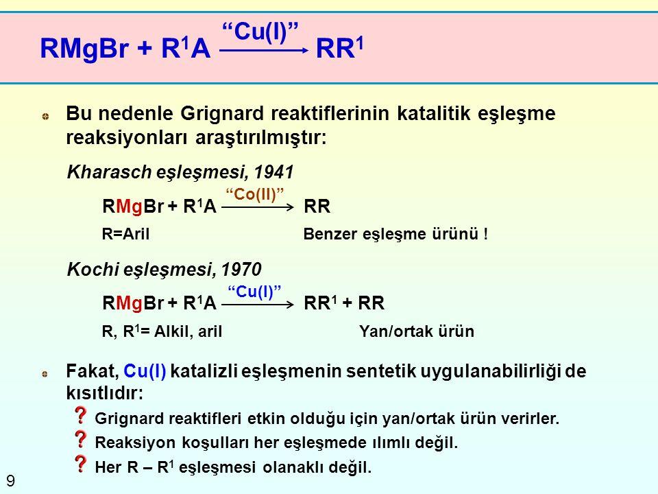 Cu(I) RMgBr + R1A. RR1. Bu nedenle Grignard reaktiflerinin katalitik eşleşme reaksiyonları araştırılmıştır: