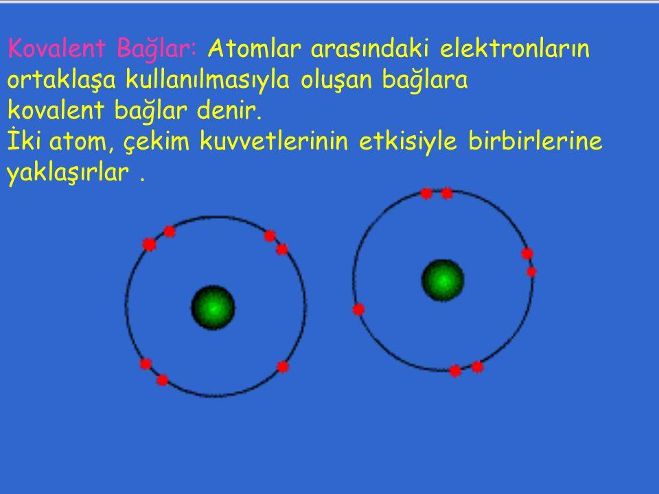Kovalent Bağlar: Atomlar arasındaki elektronların