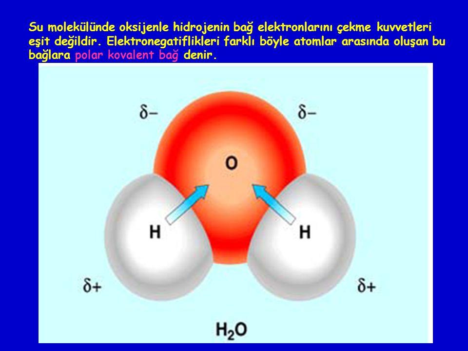 Su molekülünde oksijenle hidrojenin bağ elektronlarını çekme kuvvetleri eşit değildir.