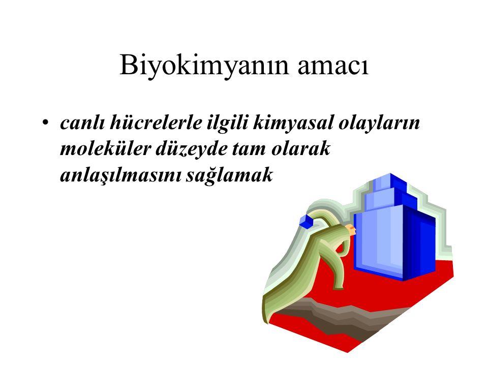 Biyokimyanın amacı canlı hücrelerle ilgili kimyasal olayların moleküler düzeyde tam olarak anlaşılmasını sağlamak.