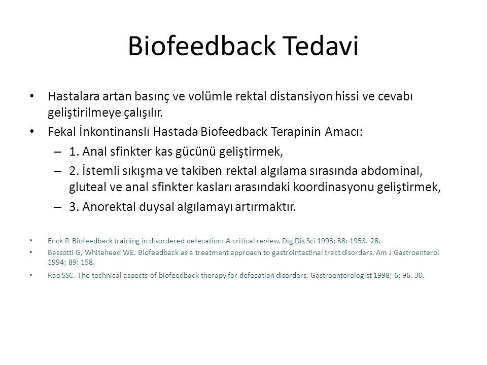 Biofeedback Tedavi Hastalara artan basınç ve volümle rektal distansiyon hissi ve cevabı geliştirilmeye çalışılır.