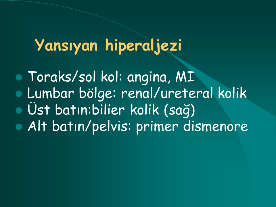Yansıyan hiperaljezi Toraks/sol kol: angina, MI
