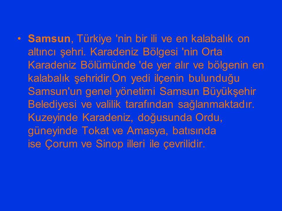 Samsun, Türkiye nin bir ili ve en kalabalık on altıncı şehri