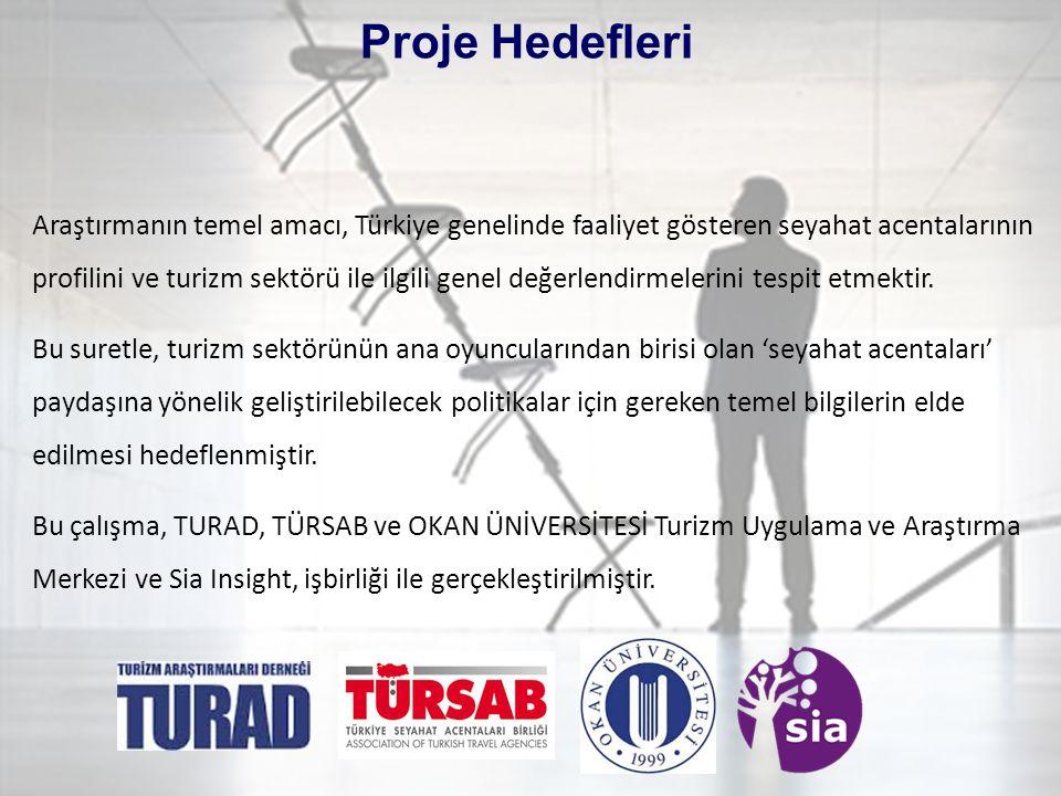 Araştırmanın temel amacı, Türkiye genelinde faaliyet gösteren seyahat acentalarının profilini ve turizm sektörü ile ilgili genel değerlendirmelerini tespit etmektir.