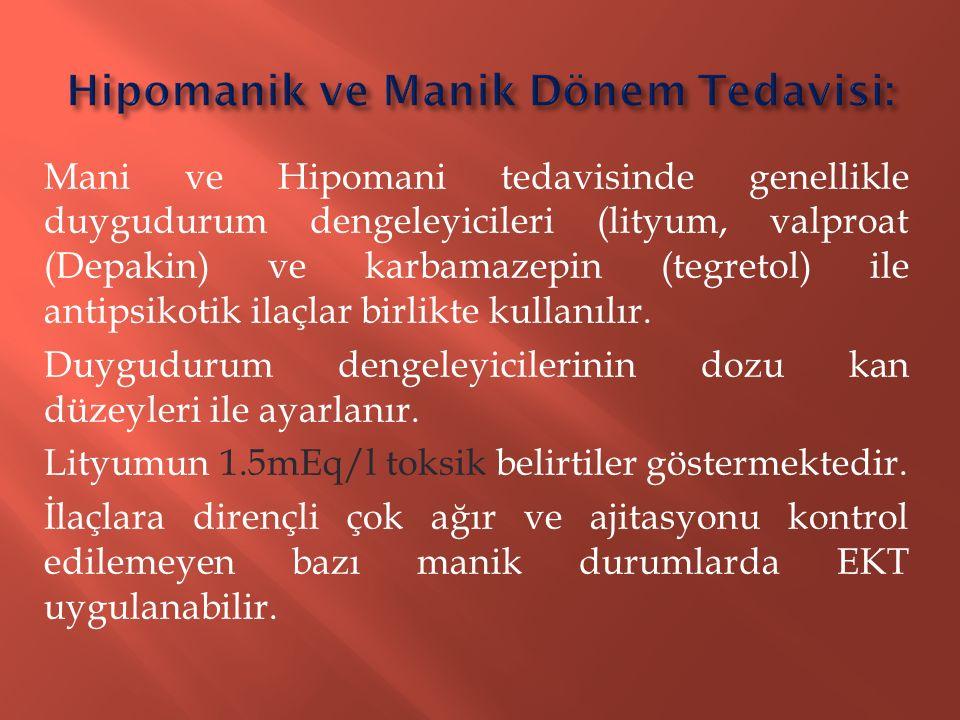 Hipomanik ve Manik Dönem Tedavisi: