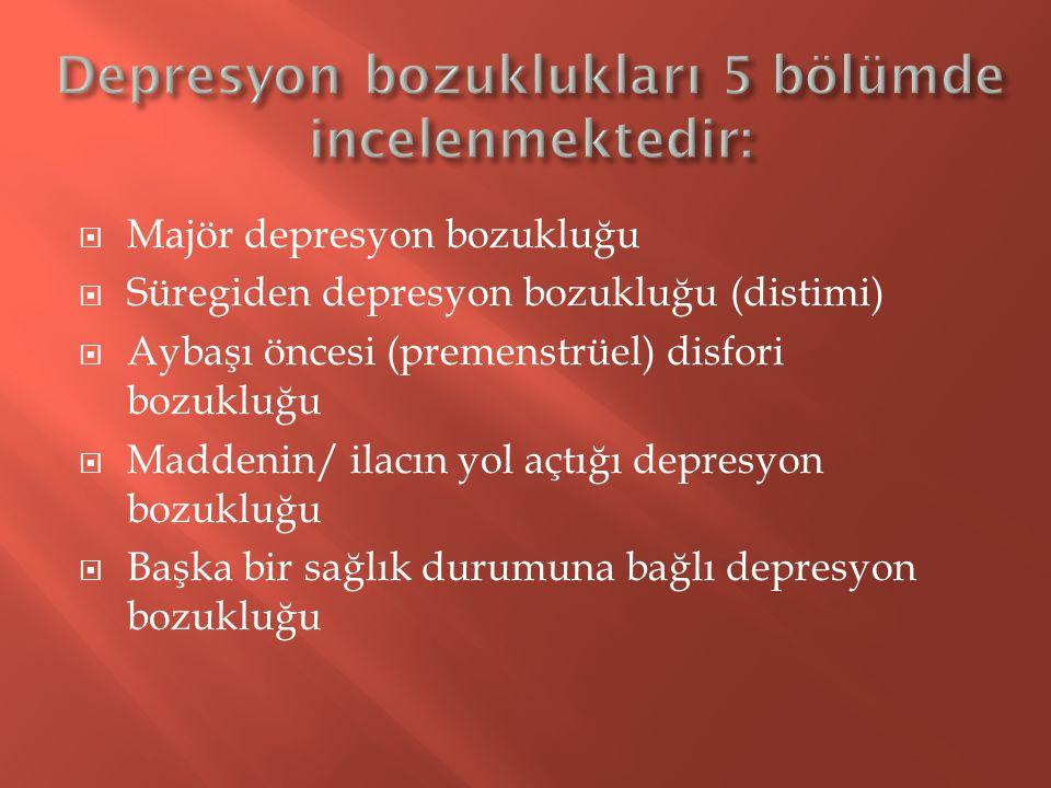 Depresyon bozuklukları 5 bölümde incelenmektedir: