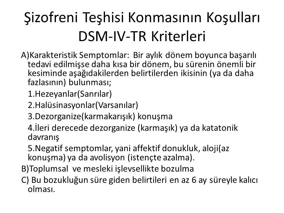 Şizofreni Teşhisi Konmasının Koşulları DSM-IV-TR Kriterleri