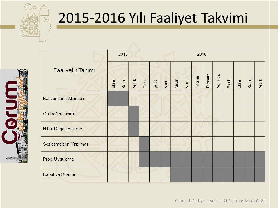 2015-2016 Yılı Faaliyet Takvimi