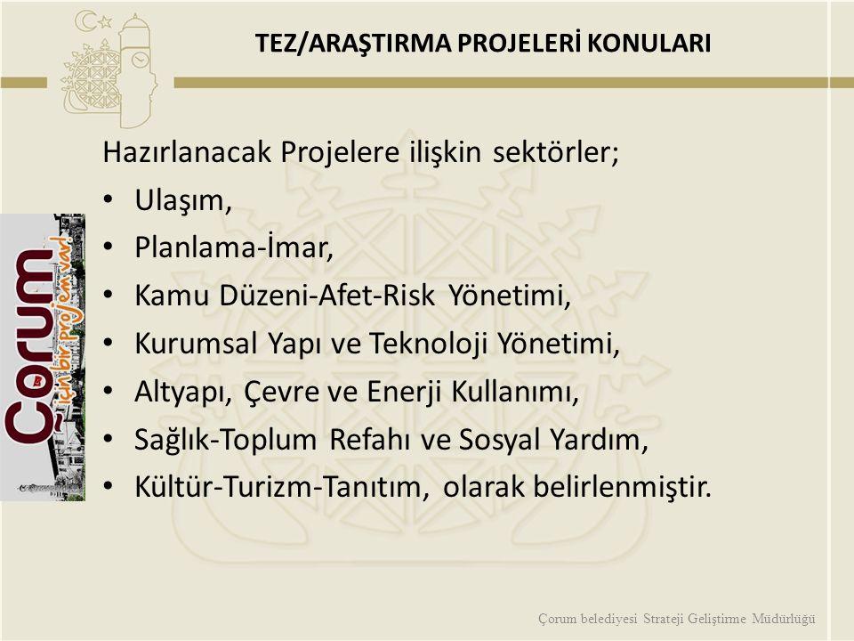 TEZ/ARAŞTIRMA PROJELERİ KONULARI