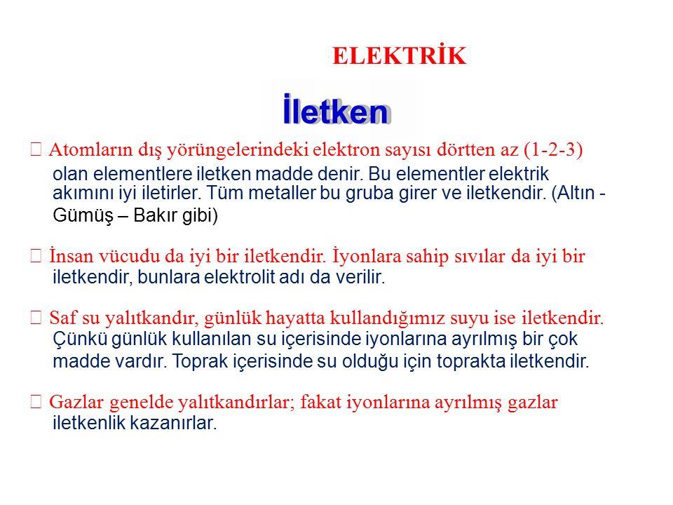 ELEKTRİK İletken.  Atomların dış yörüngelerindeki elektron sayısı dörtten az (1-2-3) olan elementlere iletken madde denir. Bu elementler elektrik.