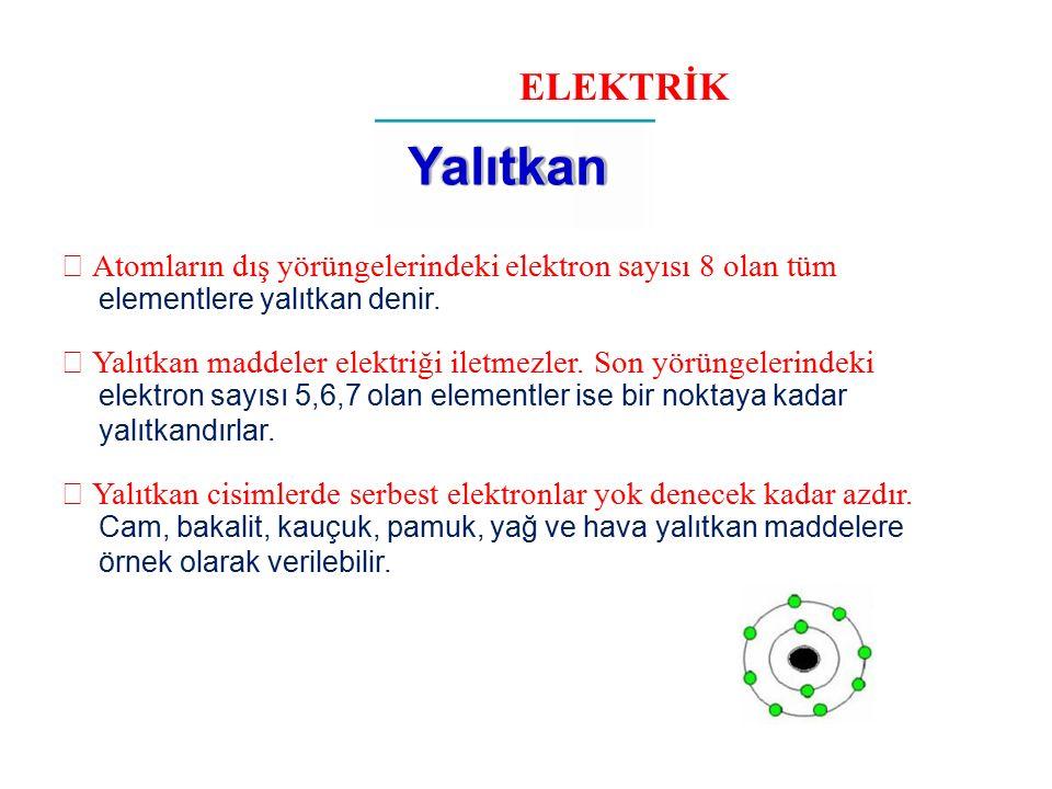 ELEKTRİK Yalıtkan.  Atomların dış yörüngelerindeki elektron sayısı 8 olan tüm. elementlere yalıtkan denir.