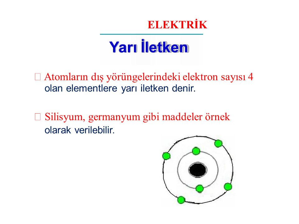 ELEKTRİK Yarı İletken.  Atomların dış yörüngelerindeki elektron sayısı 4. olan elementlere yarı iletken denir.