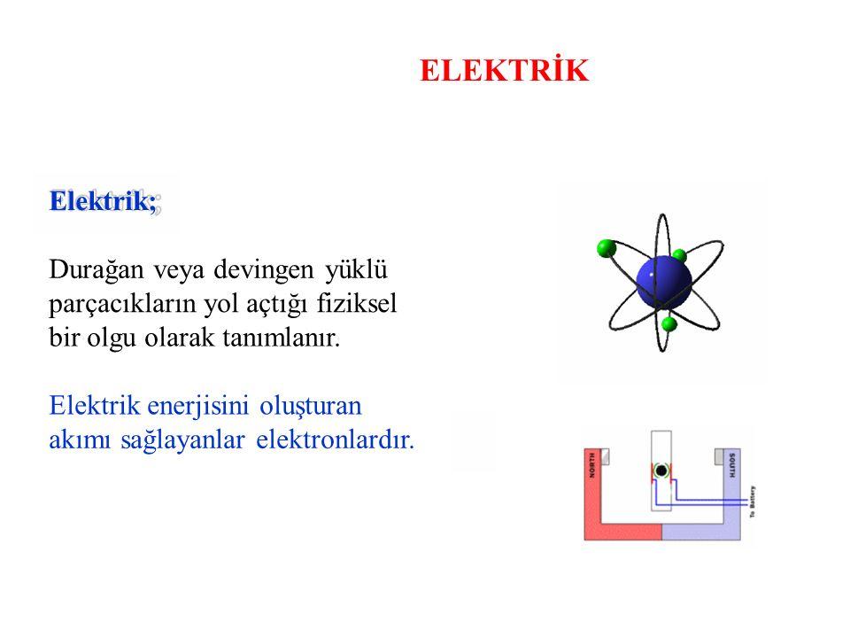 ELEKTRİK Elektrik; Durağan veya devingen yüklü