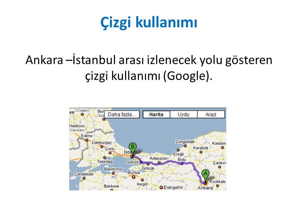Çizgi kullanımı Ankara –İstanbul arası izlenecek yolu gösteren çizgi kullanımı (Google).