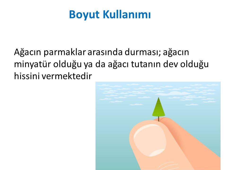 Boyut Kullanımı Ağacın parmaklar arasında durması; ağacın minyatür olduğu ya da ağacı tutanın dev olduğu hissini vermektedir