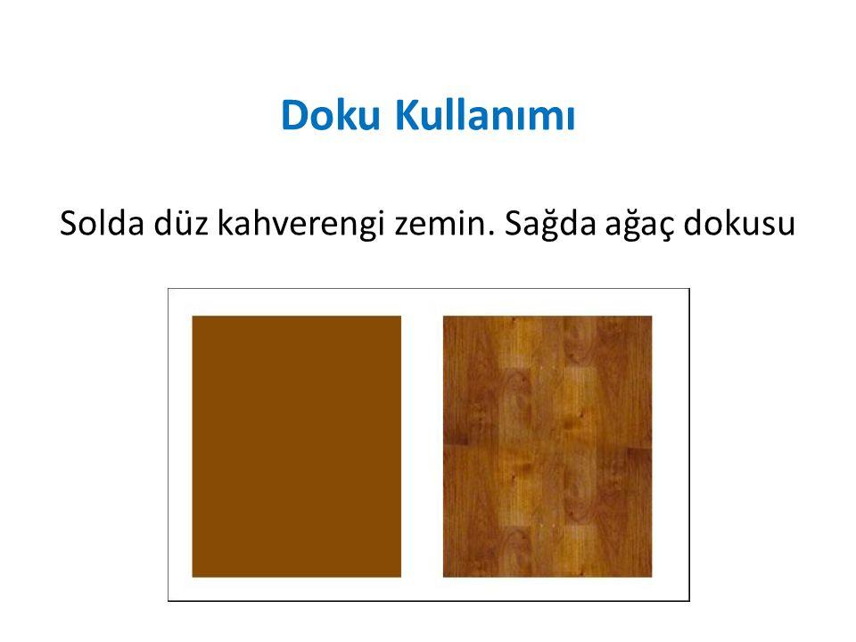 Doku Kullanımı Solda düz kahverengi zemin. Sağda ağaç dokusu
