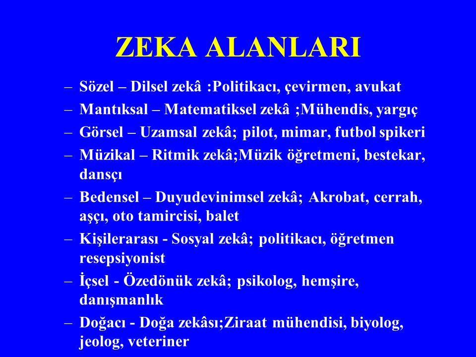 ZEKA ALANLARI Sözel – Dilsel zekâ :Politikacı, çevirmen, avukat