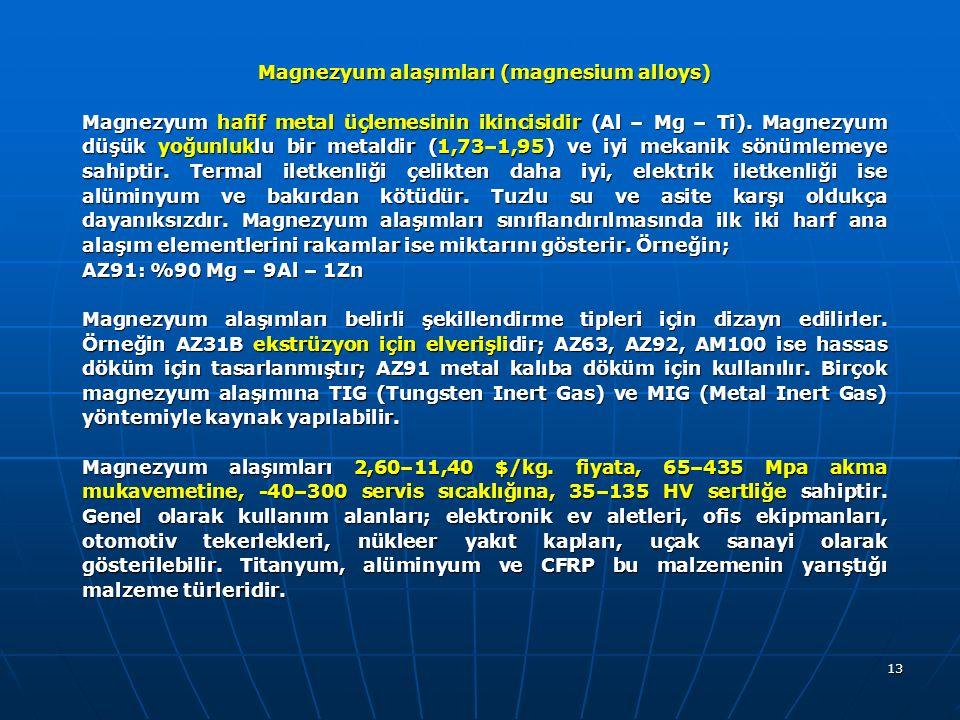 Magnezyum alaşımları (magnesium alloys)