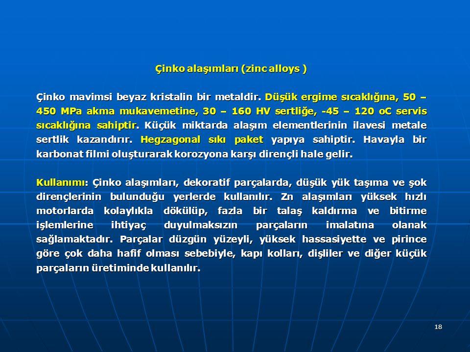 Çinko alaşımları (zinc alloys )