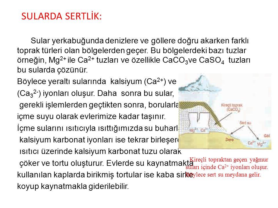 SULARDA SERTLİK: Böylece yeraltı sularında kalsiyum (Ca2+) ve karbonat