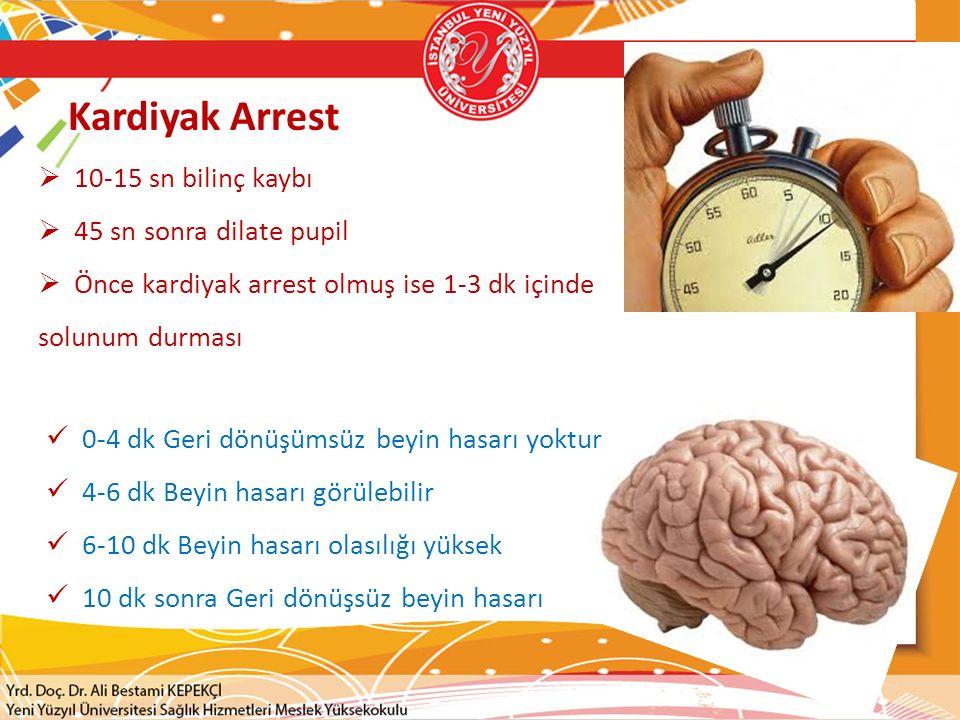 Kardiyak Arrest 10-15 sn bilinç kaybı 45 sn sonra dilate pupil
